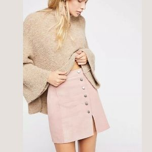 Free People Understated Leather Suede Mini Skirt L